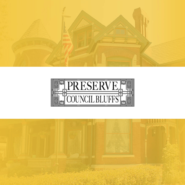 Feature image with a historic home with gold overlay and logo